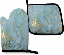 Oven Mitts and Pot Holders Sets Marble Design Gold