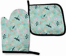 Oven Mitts And Pot Holders Sets, Navy Dragonfly