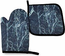 Oven Mitts And Pot Holders Sets, Navy Marble