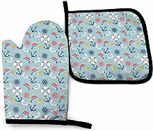 Oven Mitts And Pot Holders Sets, Navy Seagulls