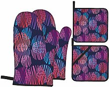 Oven Mitts and Pot Holders Sets of 4,Abstract