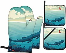 Oven Mitts and Pot Holders Sets of 4,Big Whale