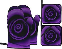 Oven Mitts and Pot Holders Sets of 4,Black Purple