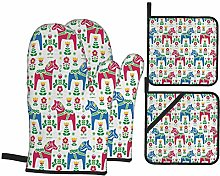 Oven Mitts and Pot Holders Sets of 4,Classic