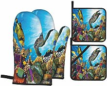 Oven Mitts and Pot Holders Sets of 4,Colorful