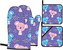 Oven Mitts and Pot Holders Sets of 4,Cute Blue and