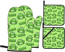 Oven Mitts and Pot Holders Sets of 4,Cute Cartoon