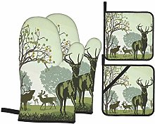 Oven Mitts and Pot Holders Sets of 4,Deer And
