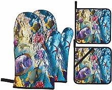 Oven Mitts and Pot Holders Sets of 4,Exotic Coral