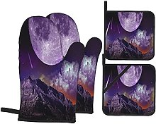 Oven Mitts and Pot Holders Sets of 4,Fantasy Dark