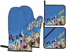 Oven Mitts and Pot Holders Sets of 4,Fish Schools