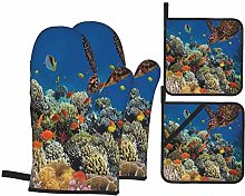 Oven Mitts and Pot Holders Sets of 4,Fishes Old