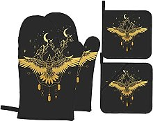 Oven Mitts and Pot Holders Sets of 4,Gold Bird