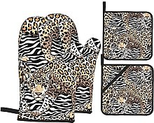 Oven Mitts and Pot Holders Sets of 4,Gold Leopard
