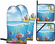 Oven Mitts and Pot Holders Sets of 4,Graphics Of