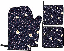Oven Mitts and Pot Holders Sets of 4,Hand Drawing
