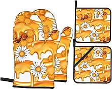 Oven Mitts and Pot Holders Sets of 4,Honey Pattern