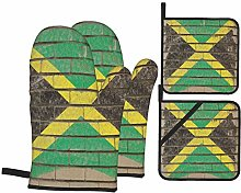 Oven Mitts and Pot Holders Sets of 4,Jamaican Flag