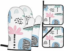 Oven Mitts and Pot Holders Sets of 4,Kids Hand