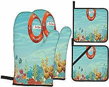 Oven Mitts and Pot Holders Sets of 4,Lifebuoy Over