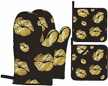 Oven Mitts and Pot Holders Sets of 4,Lipstick Gold