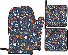 Oven Mitts and Pot Holders Sets of 4,Many