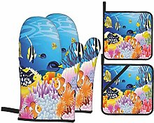 Oven Mitts and Pot Holders Sets of 4,Ocean Decor