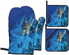 Oven Mitts and Pot Holders Sets of 4,Oceanic