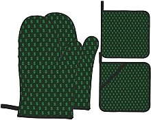 Oven Mitts and Pot Holders Sets of 4,Pattern Of
