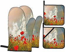 Oven Mitts and Pot Holders Sets of 4,Poppy,Meadow