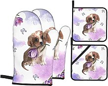 Oven Mitts and Pot Holders Sets of 4,Purple