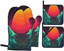 Oven Mitts and Pot Holders Sets of 4,Retro Wave