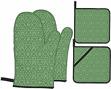 Oven Mitts and Pot Holders Sets of 4,Sage Green