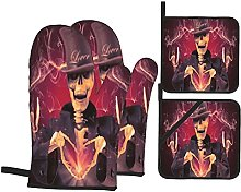 Oven Mitts and Pot Holders Sets of 4,Skeleton Show