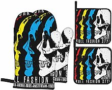 Oven Mitts and Pot Holders Sets of 4,Skull T Shirt