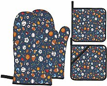 Oven Mitts and Pot Holders Sets of 4,Sport Many
