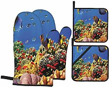 Oven Mitts and Pot Holders Sets of 4,Submerged