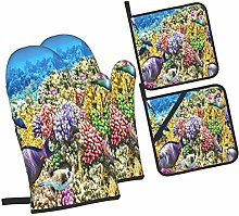 Oven Mitts and Pot Holders Sets of 4,Undersea