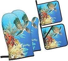 Oven Mitts and Pot Holders Sets of 4,Underwater
