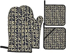 Oven Mitts and Pot Holders Sets of 4,Vertical