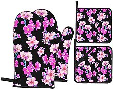 Oven Mitts and Pot Holders Sets of 4,Watercolor