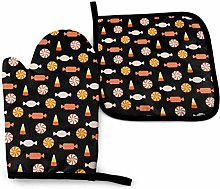 Oven Mitts And Pot Holders Sets, Orange Candy