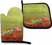Oven Mitts And Pot Holders Sets, Orange Lizard