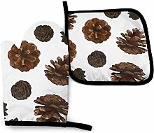 Oven Mitts and Pot Holders Sets,Pine Cones