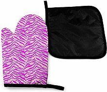Oven Mitts and Pot Holders Sets,Pink Leopard Print