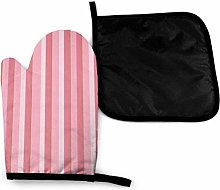 Oven Mitts and Pot Holders Sets,Pink White