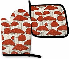 Oven Mitts and Pot Holders Sets,Red White Mushroom