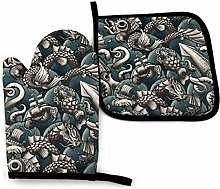Oven Mitts and Pot Holders Sets,Sea Monsters (Blue