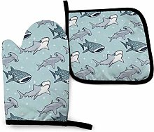 Oven Mitts and Pot Holders Sets,Whale, Black and