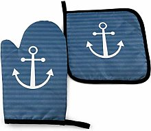 Oven Mitts And Pot Holders Sets, White Anchor
